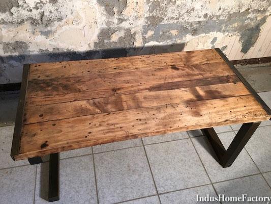 table basse metal bois industrielle