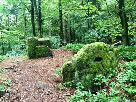 Viel Zeit auf mystischem Pfad: Moosbedeckten Steine, geheimnisvolle Figuren