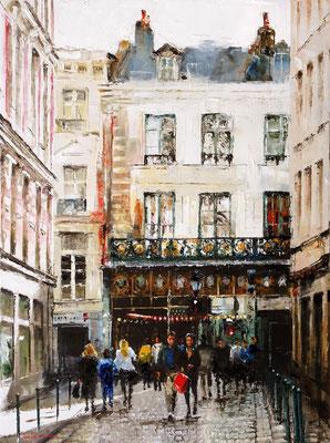 Jean-Yves FREMAUX - Huile sur toile - Les gaufres de la rue Esquemoise - 81x60cm
