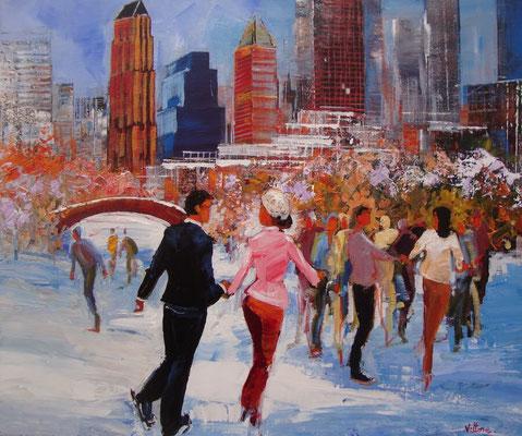 Vittore - Huile sur toile - Les patineurs à NY - 65x54cm - Vendue