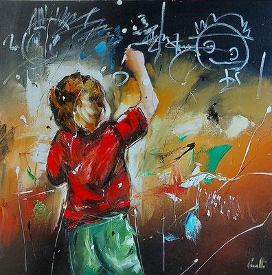 Jean-Michel CAVALLI - Le petit bonhomme - 80x80cm