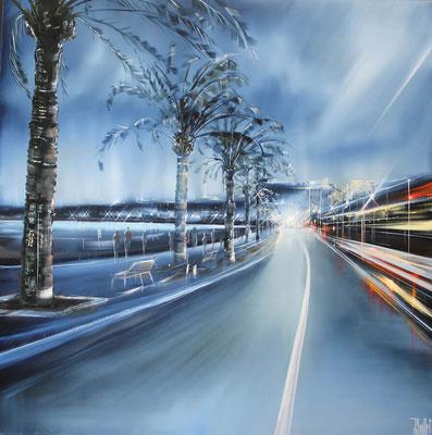 Jérôme Guillet - Huile sur toile - Promenade des Anglais - 80x80cm