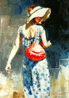 Jean-Yves FREMAUX - Huile sur toile - Le sac rouge en bandoulière - 46x33cm