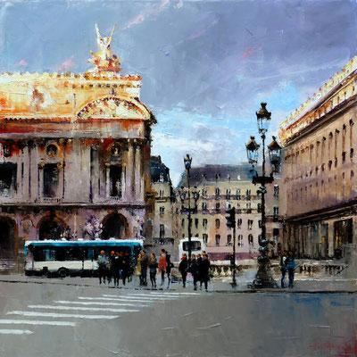 Jean-Yves FREMAUX - Huile sur toile - Paris aux premiers rayons du soleil - 100x100cm