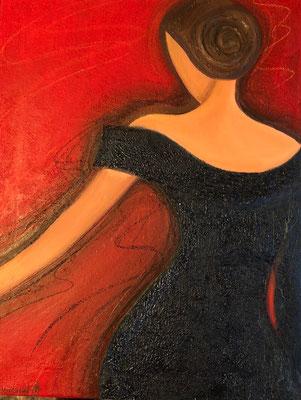 Sylvie DEMBRONT-MENUGE - Technique mixte sur toile - Fin de soirée - 50x65cm