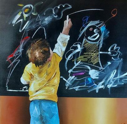 Jean-Michel CAVALLI - Le tableau noir - 80x80cm