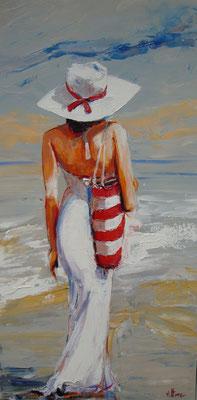 Vittore - Huile sur toile - Sur la plage - 40x80cm - Vendue