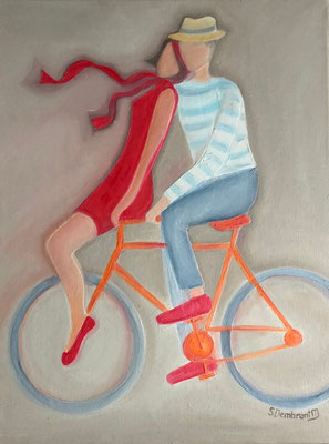 Sylvie DEMBRONT-MENUGE - Technique mixte sur toile - Quand on partait sur les chemins - 46x61cm