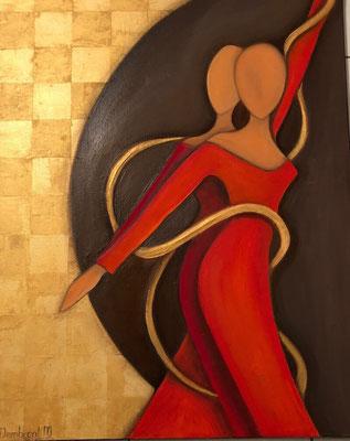 Sylvie DEMBRONT-MENUGE - Technique mixte sur toile - La magie du lien - 81x65cm - VENDUE
