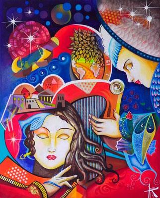 Anita RAUTUREAU - La lyre de Cupidon - 65x81cm