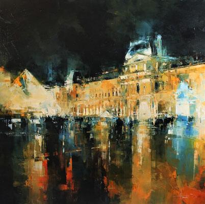 Benoît HAVARD - Huile sur toile - Paris, le Louvre - 100x100cm