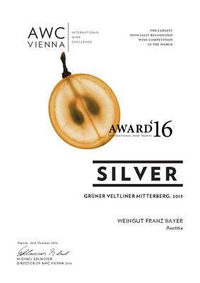 AWC Silver Silber Weingut Franz Bayer Königsbrunn am Wagram Niederösterreich Austrian Wine