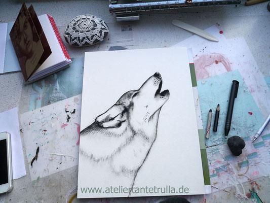 Kohlezeichnung Wolf