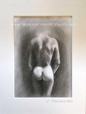 Zeichnung Kohle Akt Frau hinten