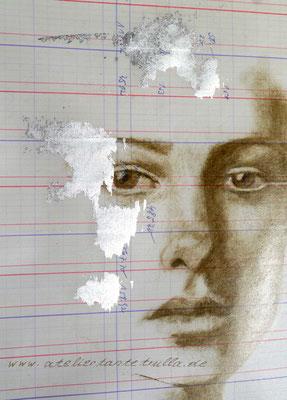 Zeichnung Gesicht trockener Pinsel Oelfarbe mit echtem Blattsilber
