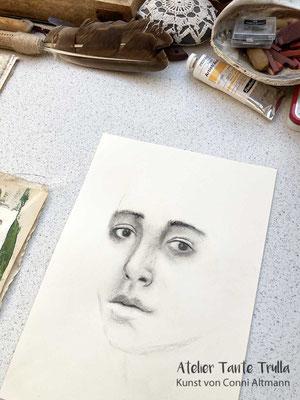 Kohlezeichnung Gesicht