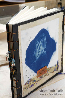 handmade book with cyanotype print by Conni Altmann