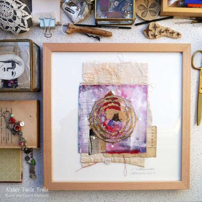 kleines Mandala-Gemälde mit Krafttier Bär, www.ateliertantetrulla.de