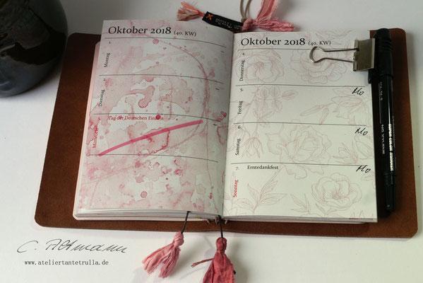 Kalender 2018 für Traveler's Notebook www.ateliertantetrulla.de