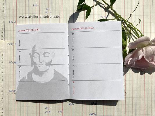 buddha kalender 2021 taschenkalender wochenplaner DIN A6 für Traveler's Notebooks