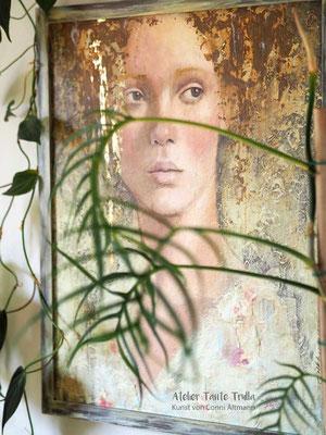 Originalgemaelde kaufen Mixed Media mit Blattgold, www.ateliertantetrulla.de