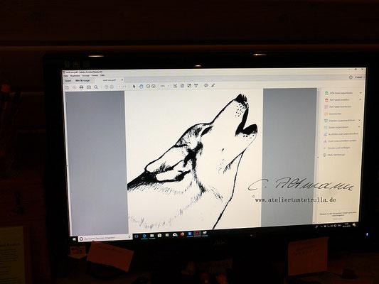 Entwurf Siebdruck Wolf