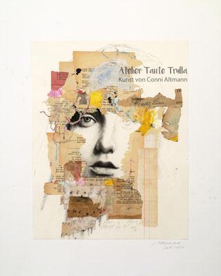 Collage auf Original-Kohlezeichnung Gesicht, www.ateliertantetrulla.de