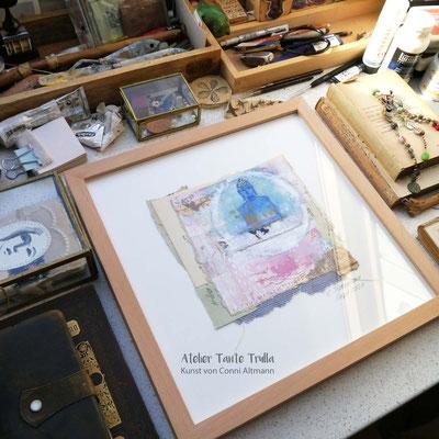 kleiner blauer Buddha Gemälde, www.ateliertantetrulla.de