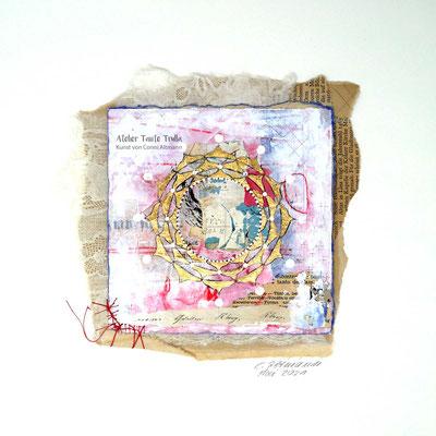 kleines Mixed Media Mandala mit Blattgold, www.ateliertantetrulla.de