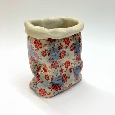 "Checkered Bag, Red Flowers Porcelain 4"" x 3"" x 3""   Chandra Beadleston $75.00"