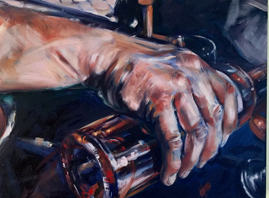 HAND, POURING WINE ROSANNA LYONS OIL ON CANVAS $1460