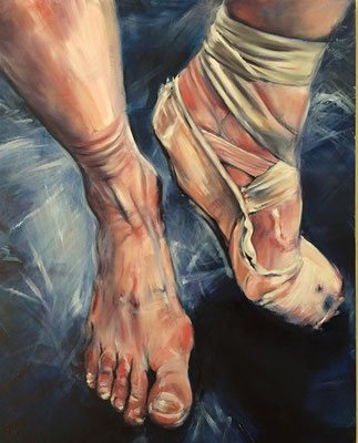 BALLET FEET ON BLUE MARLEY ROSANNA LYONS OIL ON CANVAS $1460