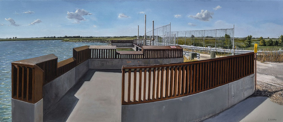 "Quivira Floodgate by Russell Horton, Oil on canvas, 19"" x 43"", $5000"