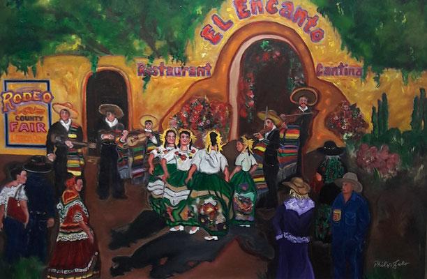 "Spanish Dancers Oil On Canvas 24"" x 36"" x 4""  Philip Julo $2500"