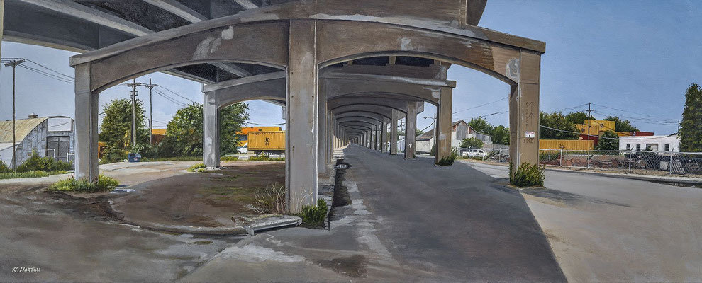 "Under the Central Ave Viaduct by Russell Horton, Oil on Canvas, 21"" x 51"", $5000"