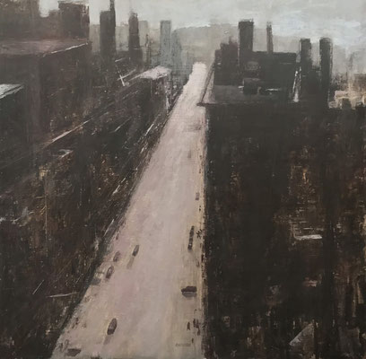 "Downtown  by Salvatore Barracca   oil on panel 16 x 16 x .25""  $1325"