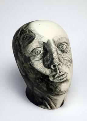 Evasion by Micole Woodard  porcelain and underglaze pencil  $2500
