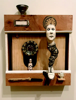 """Behind Every One,  Collaged Wood, paper, cast porcelain, found objects, sewn 12"""" x 12"""" x 2"""" Sigrid Zahner $300"""
