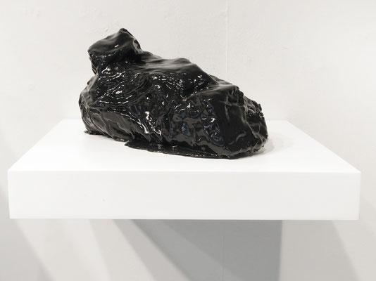 "Inferno 5 polystyrene/linen/rubber/wood shelf 4"" x 4"" x 7.5""  Marietta Leis  $650"