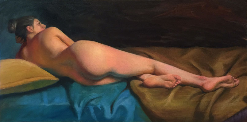 Katie Reclining   Oil on Canvas on Dibond  12 x 24