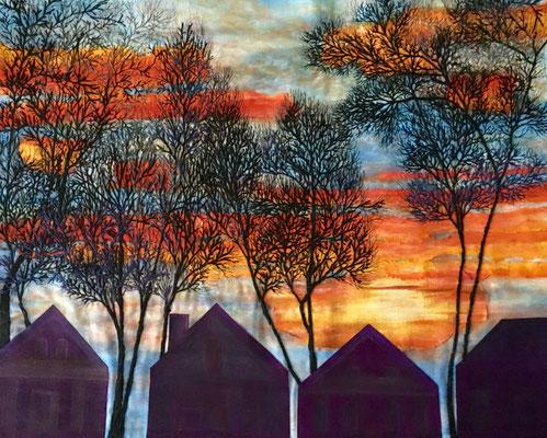 Holmes St Sunrise by Jackie Keirnan-Hale  fiber collage art quilt  11 x 14  $600 framed