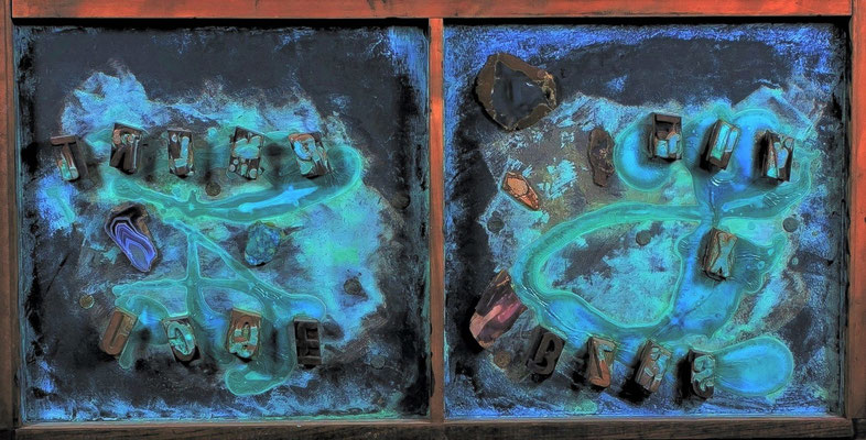 """Cryptic Message metal effects paint, lead block letters, ancient Roman coins 17"""" x 34"""" x 1"""" Ed Whitmore   $1500"""