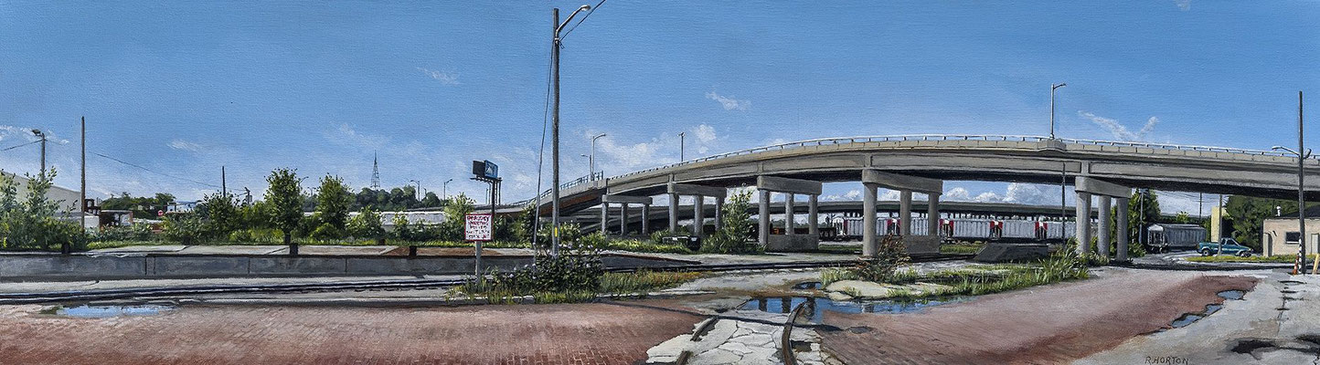 "West Bottoms, James Street Overpass by Russell Horton, Oil on Canvas, 13 1⁄4""x44 1⁄4"", $2500"