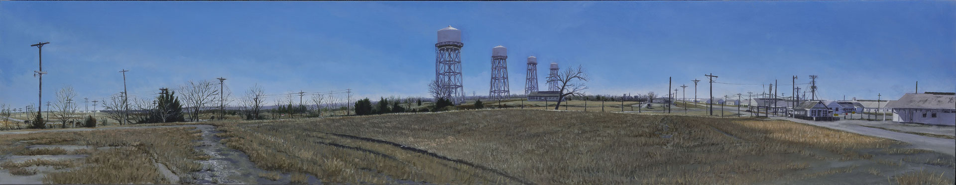 "Sunflower Ammunition Plant by Russell Horton, Oil on canvas, 13 ¼"" x 63"", $2500"