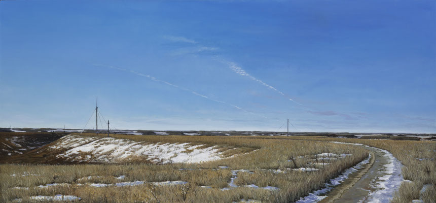 "Radio Tower Hill, Konza Prairie Preserve 2014     Oil on canvas     32 ½"" x 66 ¼""     7,500"