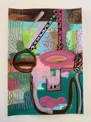 "Sobre mi cadáver Acrylic paint and markers on cardboard 50 cm x 35 cm x 0"" by Marisa Bernotti  $200"