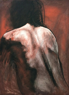 POLLY-BACK VIEW BRANDON SMITH CHARCOAL & PASTEL ON RIVES BFK $700