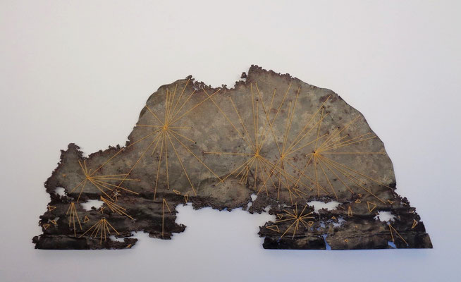 """Needle in a haystack salvaged rusted tin, button thread 9"""" x 18"""" x 0"""" Julie Corcoran SOLD"""