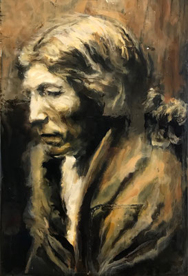 Pos-a-yew (after edward Curtis)  by Edward Rossel  Acrylic on panel  $550