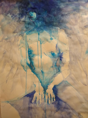 Study in Blue and Black by William Yu  watercolor on paper